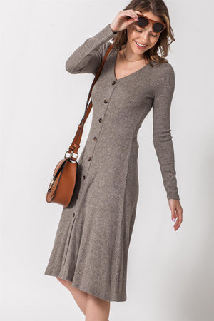 Button Down Skater Knit Dress