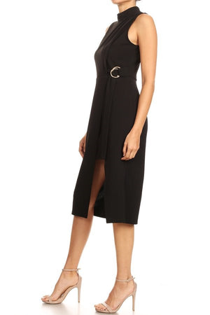 Sleeveless Belted Wrap Dress