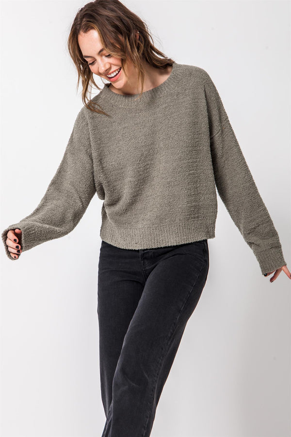 Drop Shoulder Super Soft Crewneck Sweater