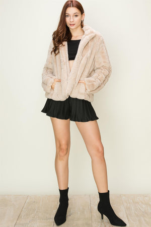 High Neck Faux Fur Coat