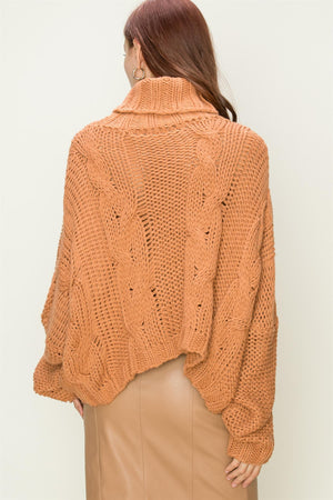 Loose Fit Cable Knit Turtleneck Sweater