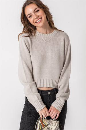 Round Neck Cropped Sweater