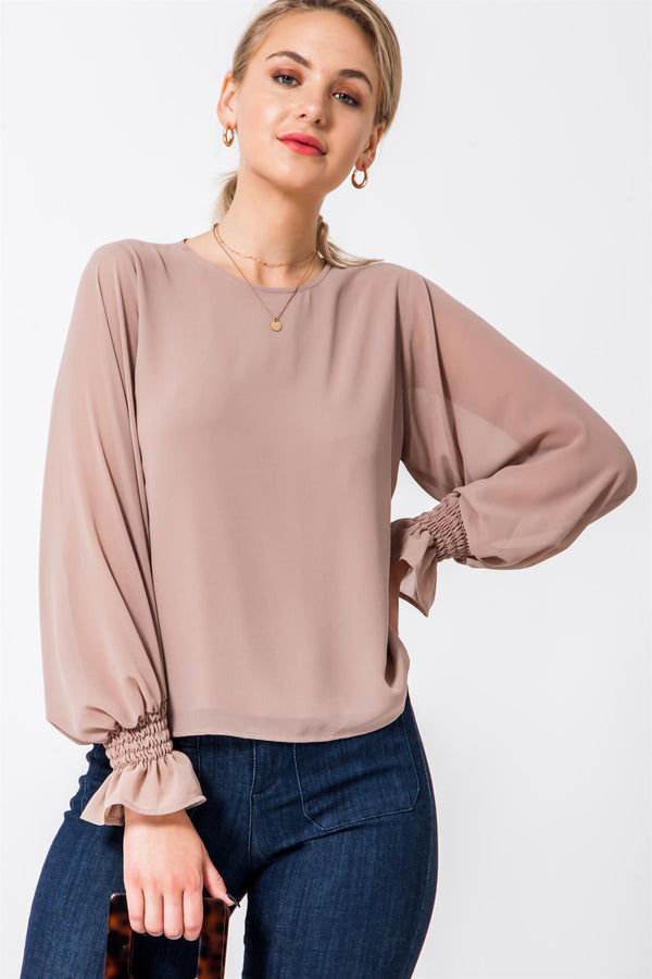 Sheer Blouse with Ballon Sleeves