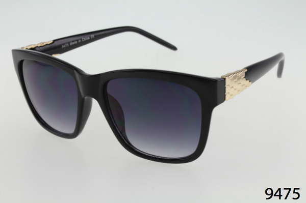 Square Wayfarer with Metal Detail Sunglasses
