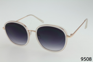 Round Plastic & Metal Accent Sunglasses