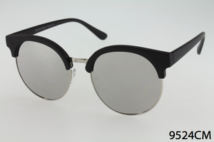 Rounded Mirror Clubmaster Sunglasses