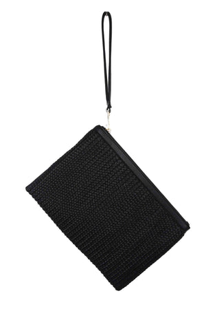 Over Sized Woven Pouch With Wristlet