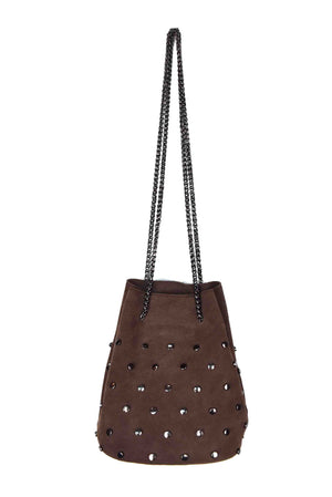 SM SUEDE BUCKET BAG W STUDS