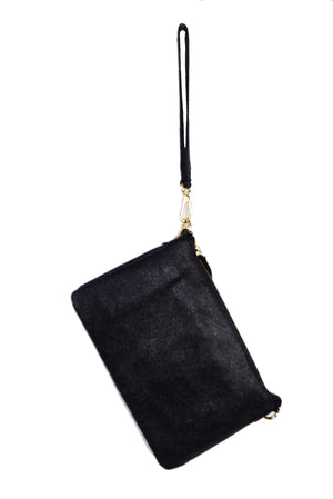 Genuine Leather Zip Top Metallic Clutch