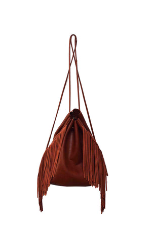 Drawstring Backpack With Fringe