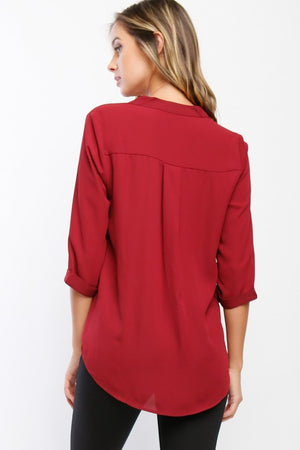 Draped Blouse With 3/4 Sleeves