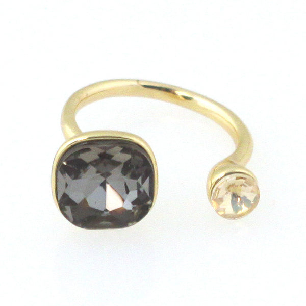 Two Tone Solitaires Ring