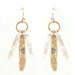 Mixed Metal Feather Chandelier Earrings