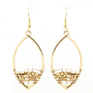 V Drop Hoop Earrings With Crystals