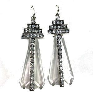 Art Deco Lucite Stmt Earrings