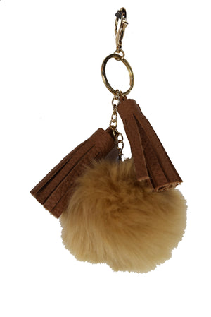 Faux Fur Pom & Tassel Bag Charm