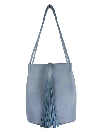 SHOULDER BUCKET BAG WITH TASSEL