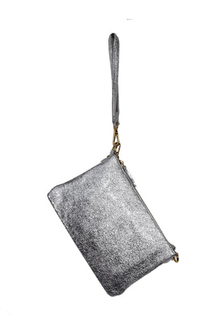 Genuine Leather Metallic Clutch