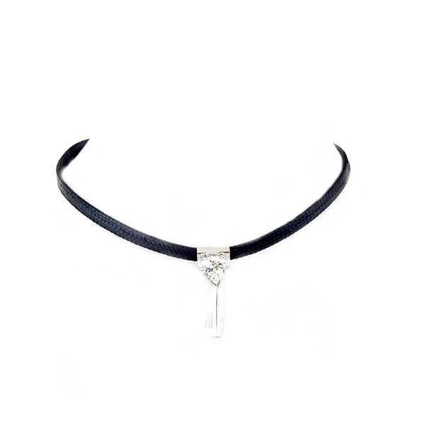 Delicate Leather with Crystal Drop Choker