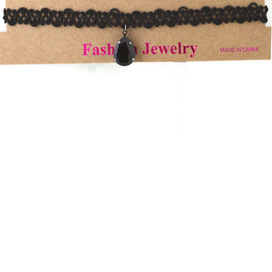 Stretch Choker with Black Diamond Drop