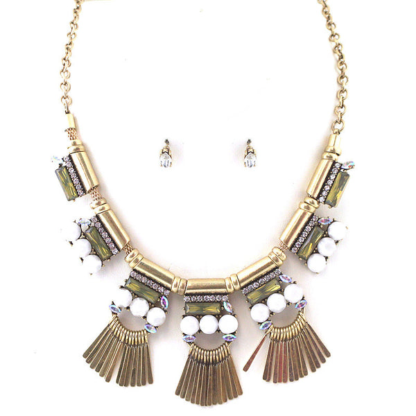 Aztec Jewel with Metal Fringe Stmt NL