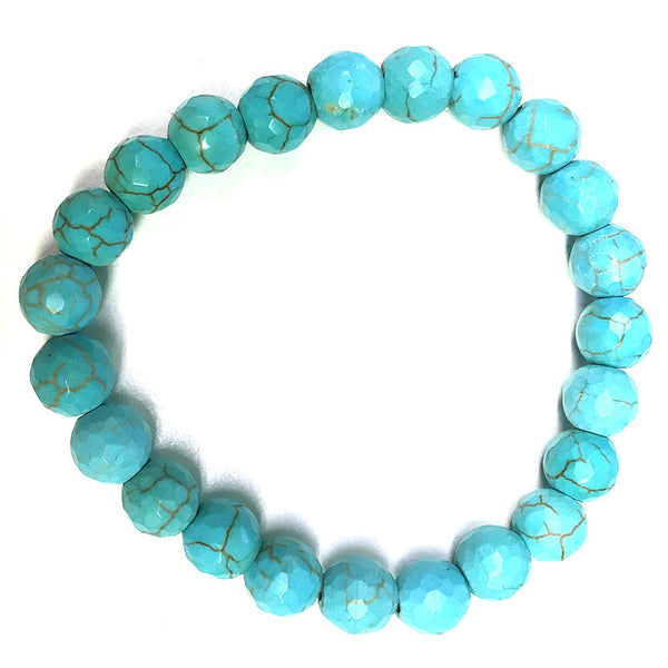 Cracked Turq Stretch Bracelet