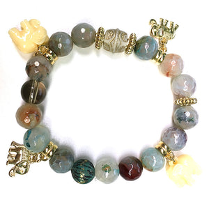 Mixed Stones & Elephant Charms BR