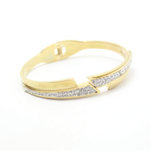 Freeform Bars with Diamonds Hinged Bangle