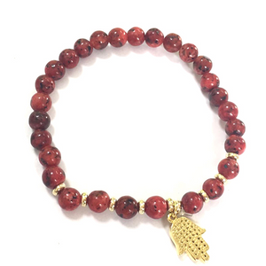 Beaded BR with Hamza Hand Charm