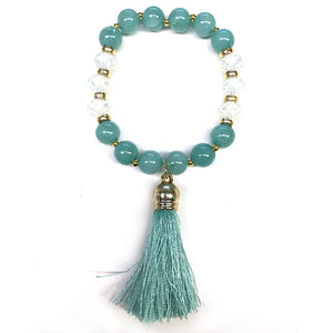 Mixed Stretch Bracelet with Tassel