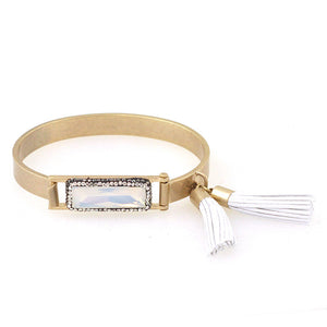 Crystal Encrusted Stone Bangle with Fringe