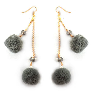 Double Pom Drop Earrings