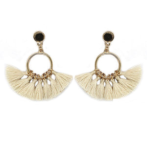 Fan Fringe Hoop Earrings