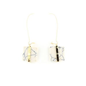 Square Marble Drop Earrings
