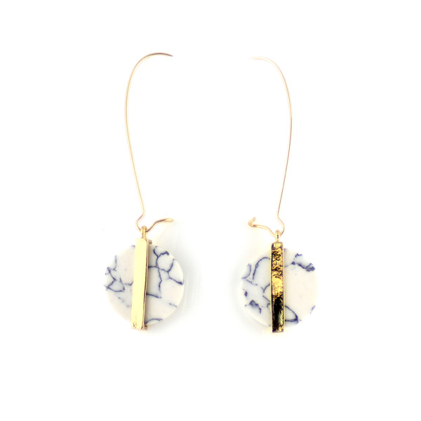 Round Marble Drop Earrings