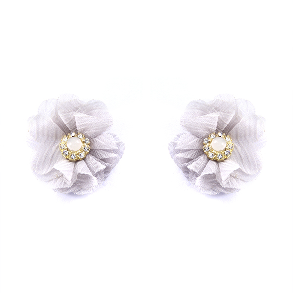 Fabric Petal Flower Stud Earrings