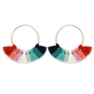 Fringe Lined Hoop Earrings
