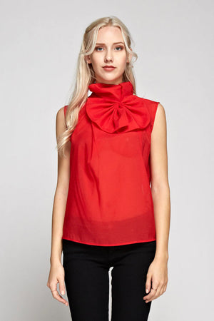 Exaggerated Bow Sleeveless Top
