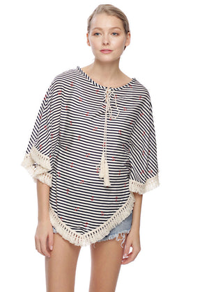 Anchors Nautical Pullover with Fringe