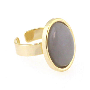 Oval Enamel Stone Ring