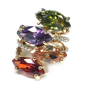 Quad Jewels & Diamond Ring