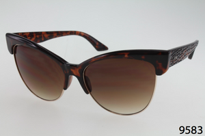 Metal And Plastic Winged Cateye Sunglasses