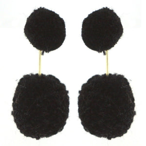 Double Poms Drop Earrings