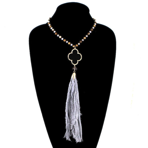 Beaded Necklace with Fluer de lis and Fringe