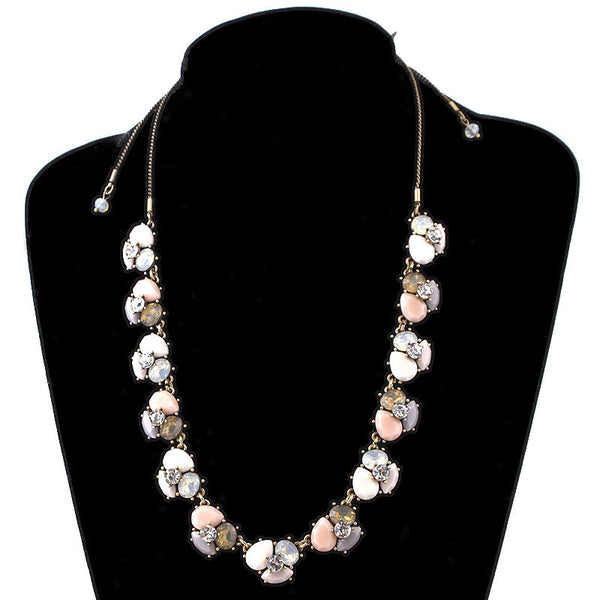 Cluster Bead & Jewel Statement Necklace