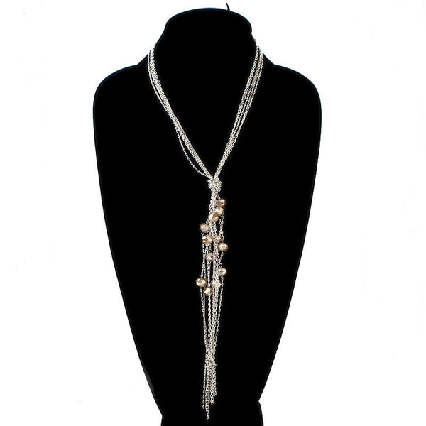 Chain Fringe with Floating Beads Necklace