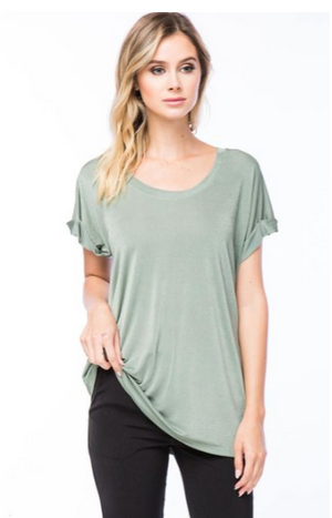 Cuffed Sleeve Crew Neck Top