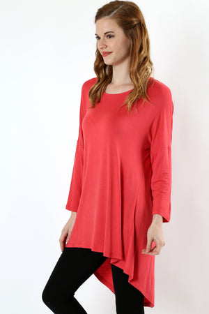 Hi Low Drape Top with 3/4 Sleeve