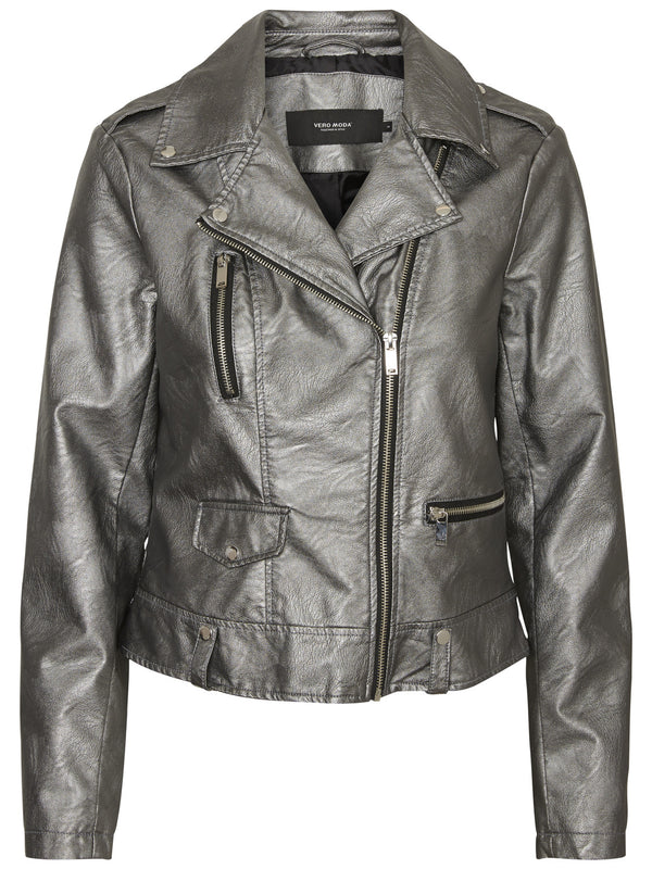 Safra Short Faux Leather Jacket