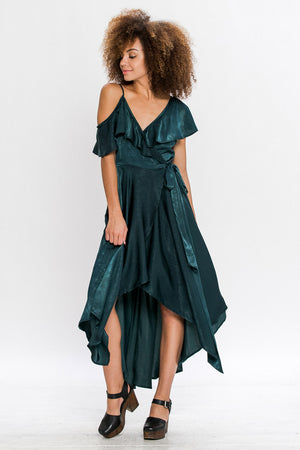 Satin Maxi Asymmetrical Wrap Dress
